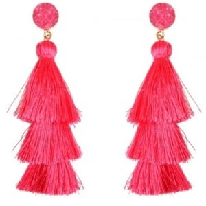 Boho Tassel Earrings - Bright Pink